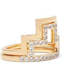 Elizabeth and James - Erte Set Of Two Gold-tone Crystal Rings - Lyst