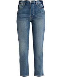 FRAME - Two-tone High-rise Slim-leg Jeans - Lyst