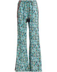 Figue - Floral-print Silk Crepe De Chine Wide-leg Trousers - Lyst