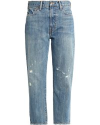 Vince - Cropped Distressed Boyfriend Jeans Mid Denim - Lyst