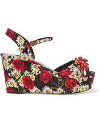 Dolce & Gabbana - Embellished Printed Faille Wedge Sandals - Lyst