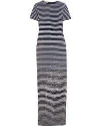 Michael Kors - Striped Sequined Silk Maxi Dress - Lyst