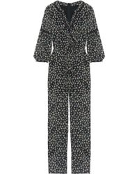 Anna Sui | Lace-trimmed Floral-print Silk-chiffon Jumpsuit | Lyst