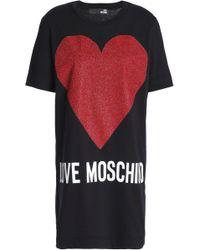 Love Moschino - Glittered Printed Cotton-jersey Mini Dress - Lyst