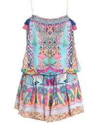 Camilla Masking Madness Embellished Printed Silk Playsuit Multicolour