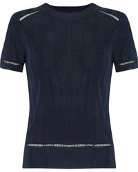 Rag & Bone - Woman Open Knit-trimmed Ribbed-knit Top Navy - Lyst