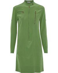 Tomas Maier - Zip-detailed Silk Crepe De Chine Dress - Lyst
