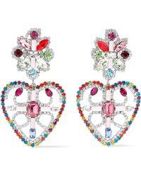 DANNIJO - Woman Silver-tone Crystal Earrings Multicolor - Lyst