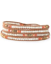Chan Luu - 18-karat Gold-plated, Leather, Pearl And Stone Bracelet Light Brown - Lyst