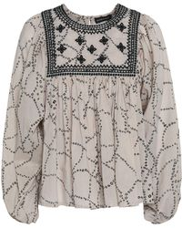 Antik Batik - Embroidered Printed Cotton-voile Blouse - Lyst