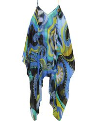 Emilio Pucci - Cold-shoulder Metallic Printed Silk-blend Chiffon Coverup - Lyst