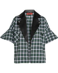 Ronald Van Der Kemp - Checked Brushed Cotton & Leather Shirt - Lyst