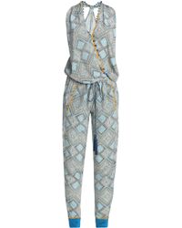 Talitha - Wrap-effect Embellished Printed Silk Jumpsuit - Lyst