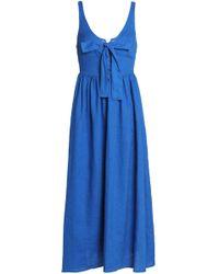 Mara Hoffman - Bow-detailed Pleated Linen Midi Dress - Lyst