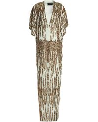 By Malene Birger - Sequined Crepe De Chine Gown Green - Lyst