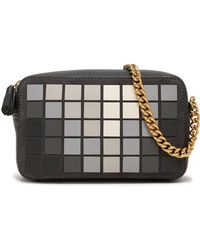 Anya Hindmarch Giant Pixel Appliquéd Suede And Leather Shoulder Bag Charcoal