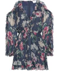 Zimmermann Iris Cold-shoulder Floral-print Silk-georgette Playsuit Anthracite
