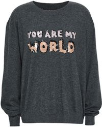 Markus Lupfer - Woman Embellished Cotton Sweater Dark Gray - Lyst