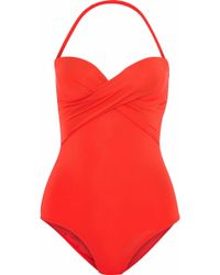 Jets by Jessika Allen - Twist-front Bandeau Swimsuit Tomato Red - Lyst