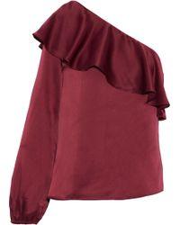 Cami NYC - Abigail One-shoulder Ruffled Silk-satin Blouse - Lyst