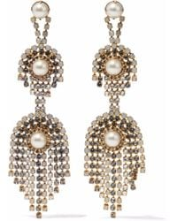 Elizabeth Cole - Gold-tone, Faux Pearl And Crystal Earrings - Lyst