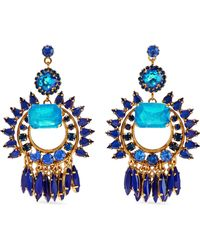 Elizabeth Cole - Simcha 24-karat Gold-plated, Stone And Swarovski Crystal Earrings Blue - Lyst