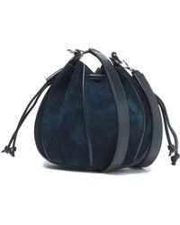 Jil Sander - Leather-trimmed Suede Bucket Bag Storm Blue - Lyst