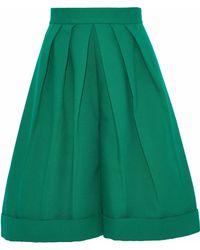 Delpozo - Woman Cotton-poplin Culottes Green - Lyst