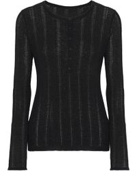 Elie Tahari - Corette Pointelle-knit Wool-blend Top - Lyst