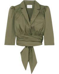 Johanna Ortiz - Oriana Wrap-effect Stretch-cotton Poplin Shirt Army Green - Lyst