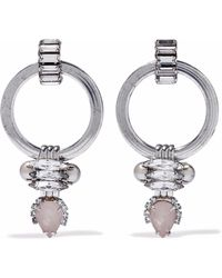 Elizabeth Cole Silver-tone, Crystal, Stone And Faux Pearl Earrings Platinum