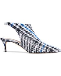 Christopher Kane - Leather-trimmed Checked Jacquard Slingback Pumps - Lyst
