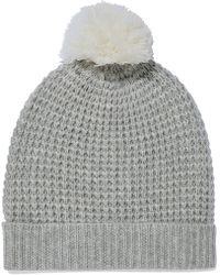 Madeleine Thompson - Woman Monica Pompom-embellished Waffle-knit Wool And Cashmere-blend Beanie Light Grey - Lyst