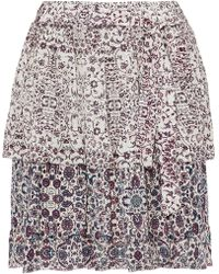 L'Agence - Belted Layered Printed Silk-chiffon Mini Skirt - Lyst