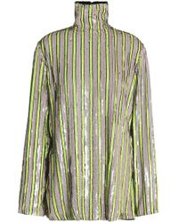 MSGM - Sequined Crepe De Chine Turtleneck Top Lime Green - Lyst