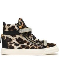 Giuseppe Zanotti - Woman Embellished Leopard-print Calf Hair High-top Sneakers Animal Print - Lyst