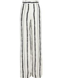 10 Crosby Derek Lam - Printed Crinkled Silk-jacquard Wide-leg Trousers - Lyst
