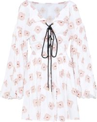 Caroline Constas - Woman Olympia Fil Coupé Cotton-blend Mini Dress Pastel Pink - Lyst
