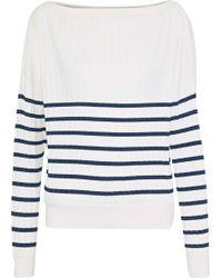 Jason Wu - Woman Striped Ribbed-knit Sweater White - Lyst