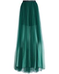 Delpozo - Pleated Tulle Maxi Skirt - Lyst