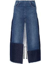 TOME - Patchwork Distressed Denim Maxi Skirt - Lyst