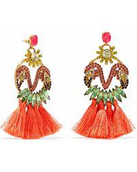 Elizabeth Cole - Woman 24-karat Gold-plated, Swarovski Crystal, Stone And Tassel Earrings Coral - Lyst