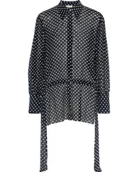 By Malene Birger - Woman Printed Crinkled Cotton And Silk-blend Gauze Blouse Black - Lyst