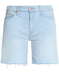 Mother - Frayed Faded Denim Shorts Light Denim - Lyst