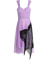 House of Holland - Woman Asymmetric Fringed Two-tone Corded Lace Midi Dress Lavender - Lyst