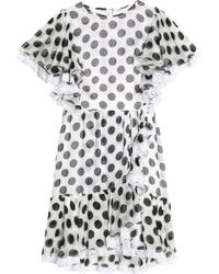 Dolce & Gabbana - Ruffle-trimmed Polka-dot Silk-blend Chiffon Mini Dress - Lyst
