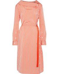 Altuzarra - Albany Belted Striped Satin Midi Dress - Lyst