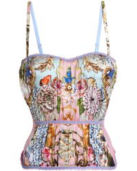 Roberto Cavalli - Lace-trimmed Printed Silk-blend Corset - Lyst