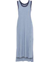 DKNY - Striped Modal-blend Jersey Nightdress Light Blue - Lyst