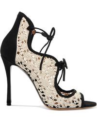 Tabitha Simmons - Cali Daisy Guipure Lace And Suede Sandals - Lyst